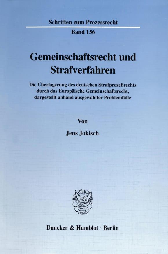 Cover Gemeinschaftsrecht und Strafverfahren