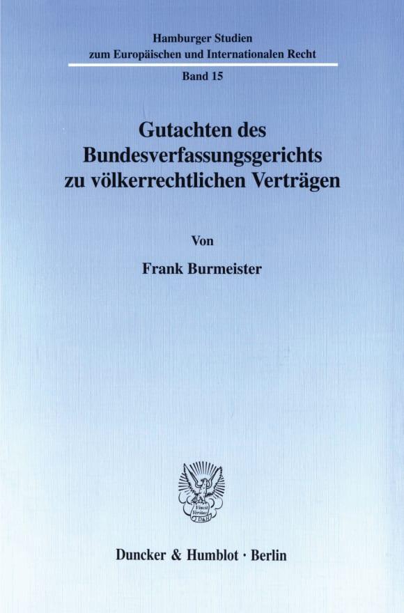 Cover Gutachten des Bundesverfassungsgerichts zu völkerrechtlichen Verträgen