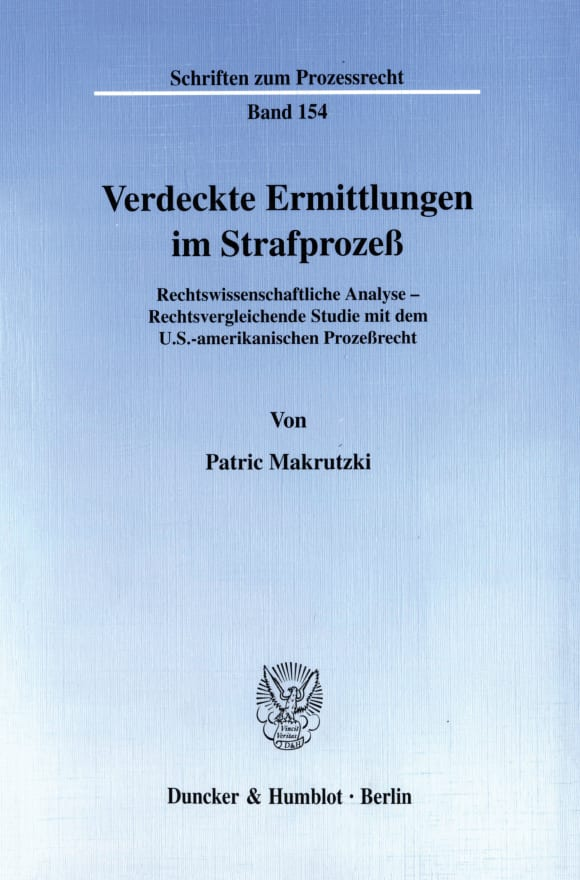 Cover Verdeckte Ermittlungen im Strafprozeß