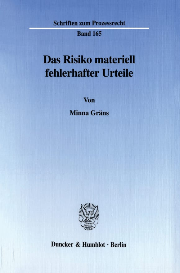Cover Das Risiko materiell fehlerhafter Urteile