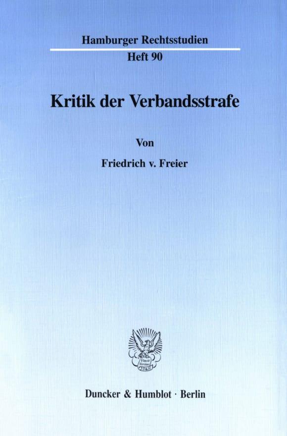 Cover Kritik der Verbandsstrafe