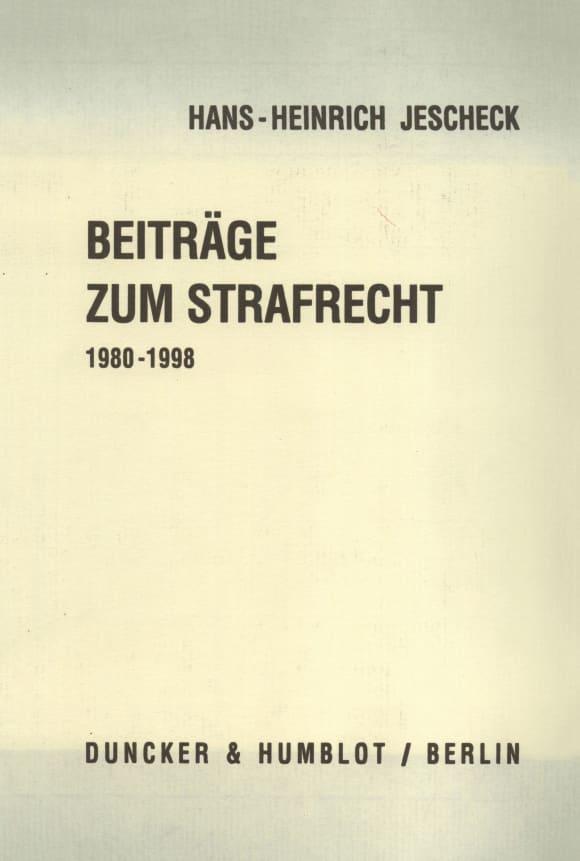 Cover Beiträge zum Strafrecht 1980 - 1998