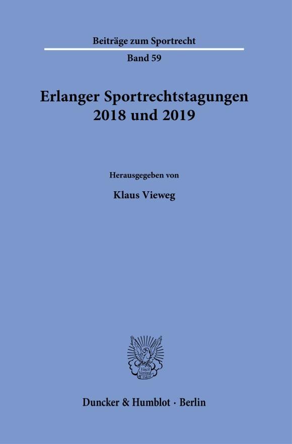 Cover Erlanger Sportrechtstagungen 2018 und 2019