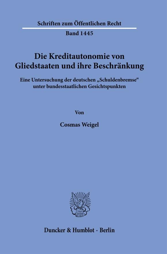 Cover Schriften zum Öffentlichen Recht (SÖR)