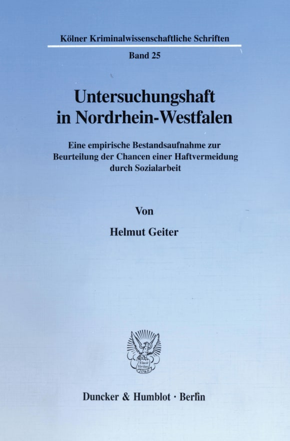 Cover Untersuchungshaft in Nordrhein-Westfalen