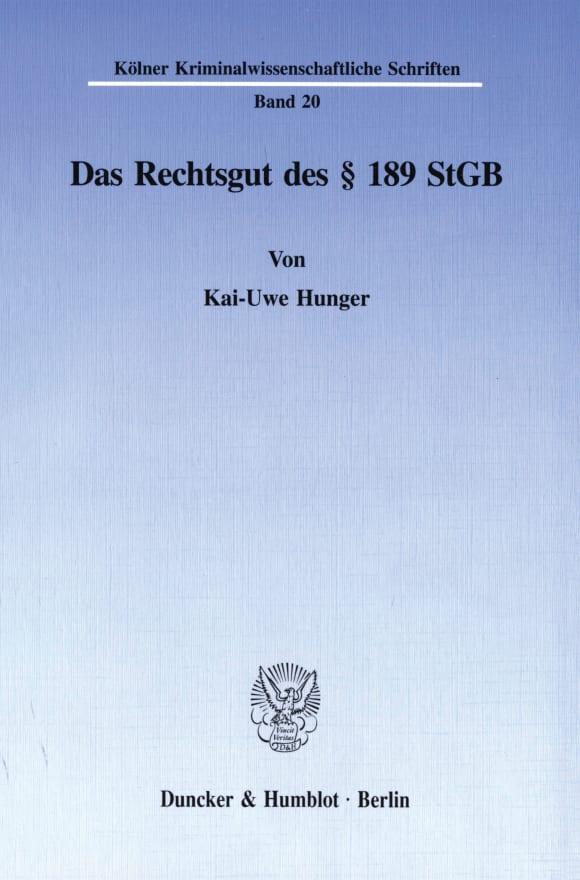 Cover Das Rechtsgut des § 189 StGB