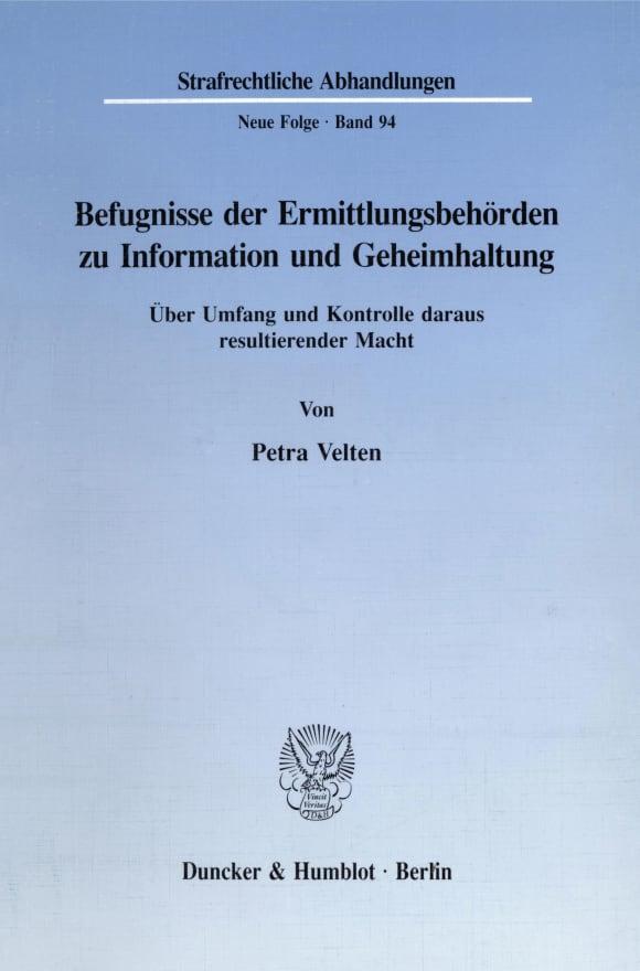 Cover Befugnisse der Ermittlungsbehörden zu Information und Geheimhaltung