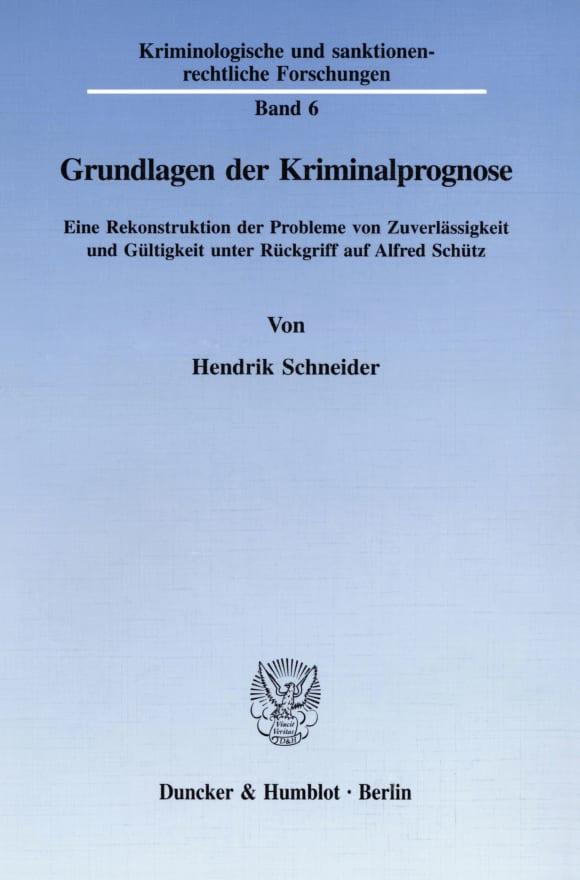 Cover Grundlagen der Kriminalprognose