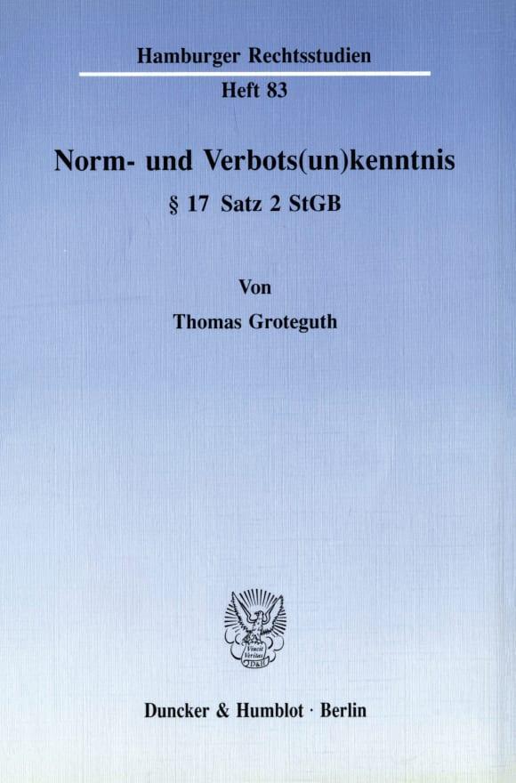 Cover Norm- und Verbots(un)kenntnis § 17 Satz 2 StGB