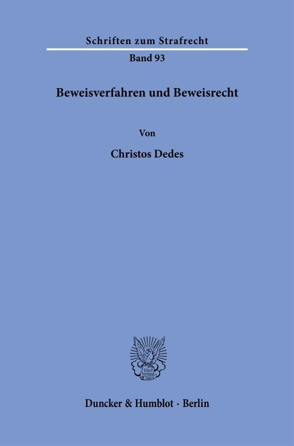 Cover Beweisverfahren und Beweisrecht