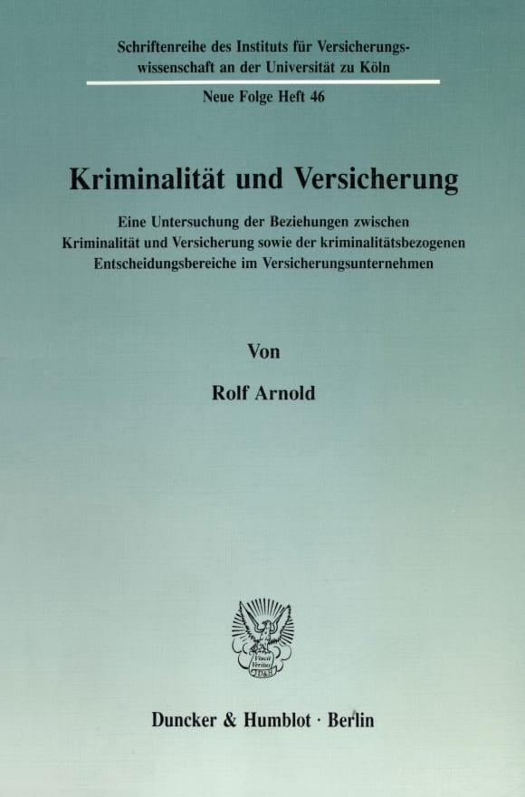 Cover Kriminalität und Versicherung