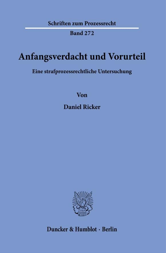 Cover Anfangsverdacht und Vorurteil