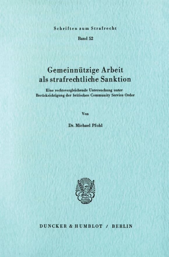 Cover Gemeinnützige Arbeit als strafrechtliche Sanktion