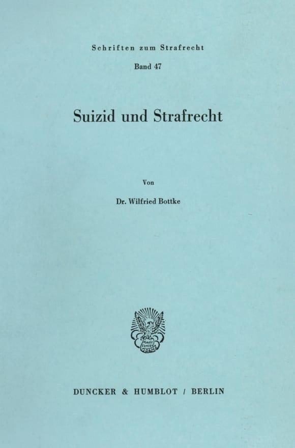 Cover Suizid und Strafrecht