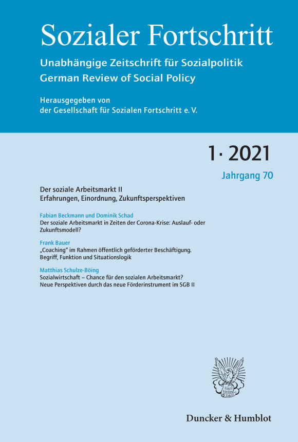 Cover Der Soziale Arbeitsmarkt II – Erfahrungen, Einordnung, Zukunftsperspektiven (SF 1/2021)