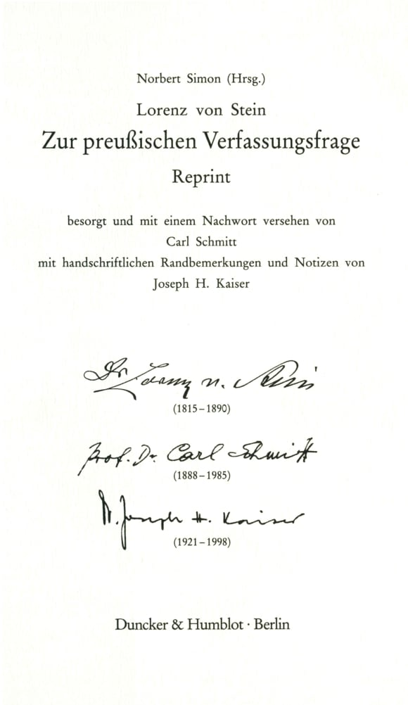 Cover Zur preußischen Verfassungsfrage. Reprint. Hrsg. von Norbert Simon