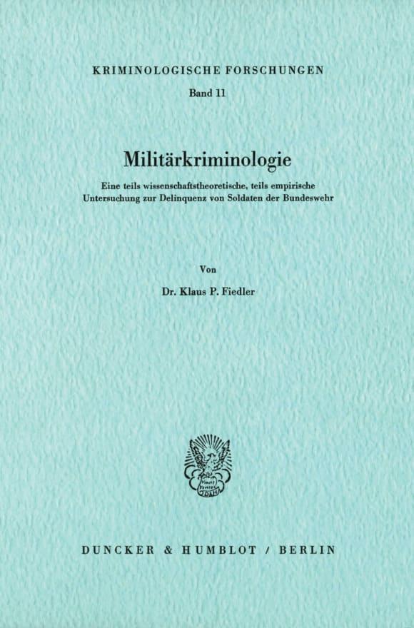 Cover Militärkriminologie