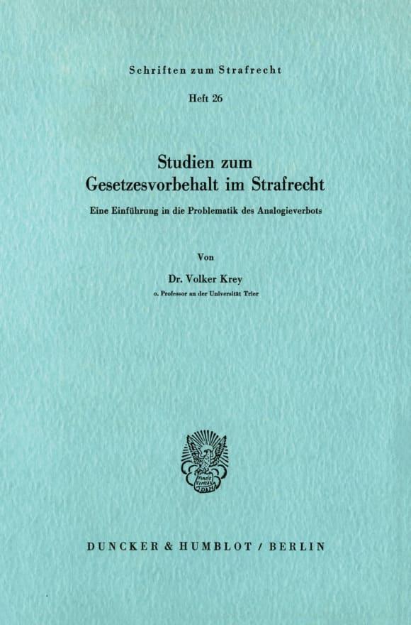 Cover Studien zum Gesetzesvorbehalt im Strafrecht