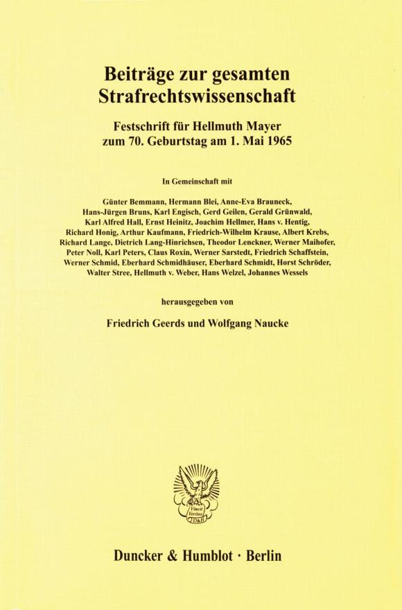 Cover Beiträge zur gesamten Strafrechtswissenschaft
