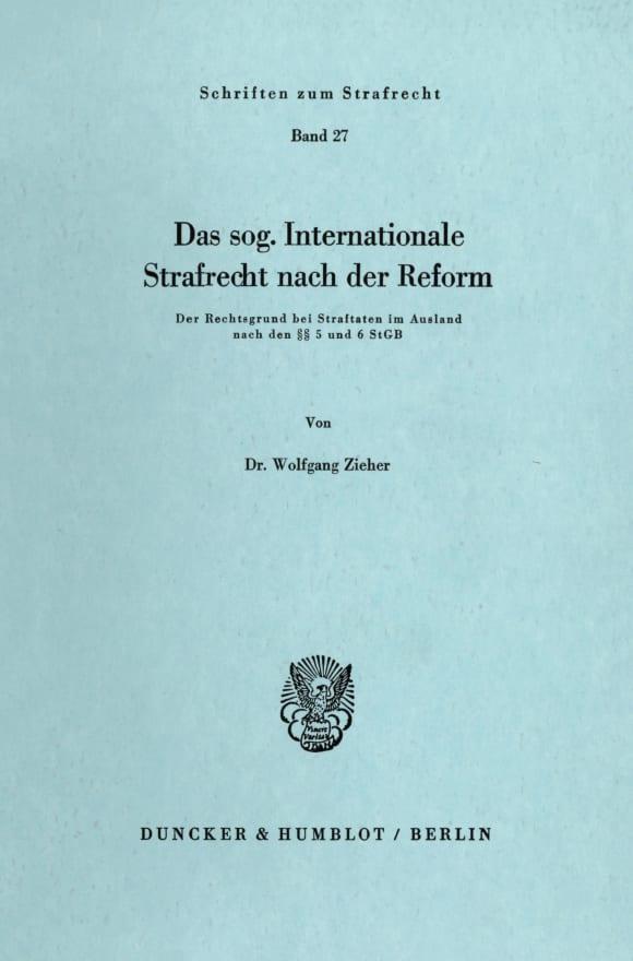 Cover Das sog. Internationale Strafrecht nach der Reform