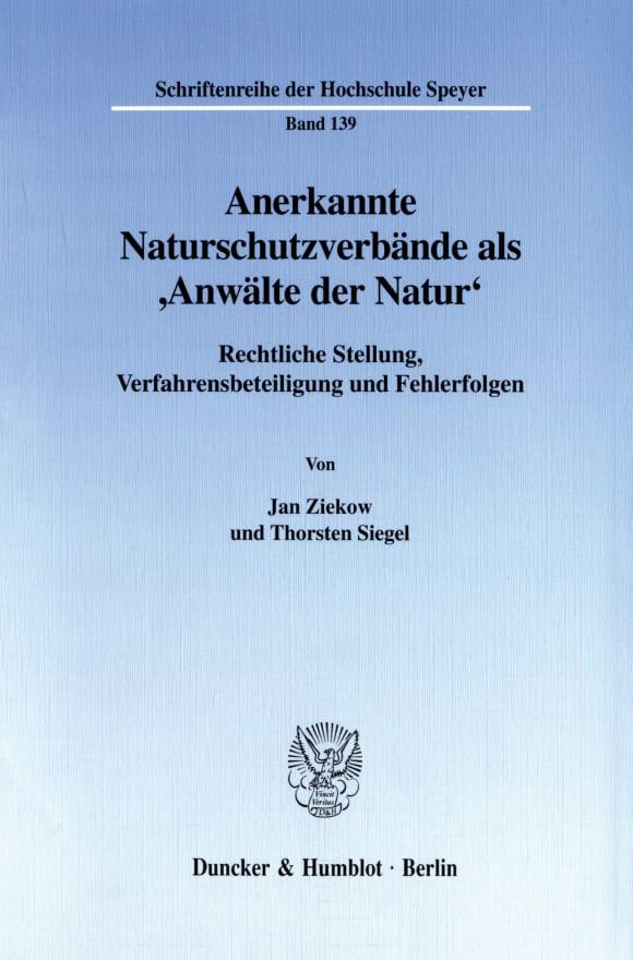 Cover Anerkannte Naturschutzverbände als 'Anwälte der Natur'