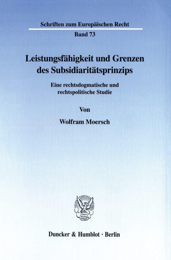 Cover Leistungsfähigkeit und Grenzen des Subsidiaritätsprinzips