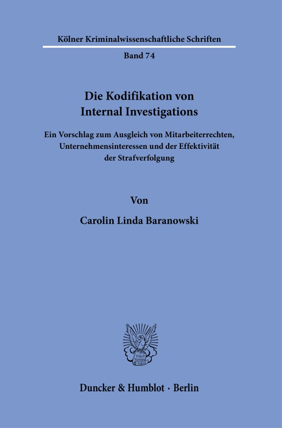 Cover Die Kodifikation von Internal Investigations