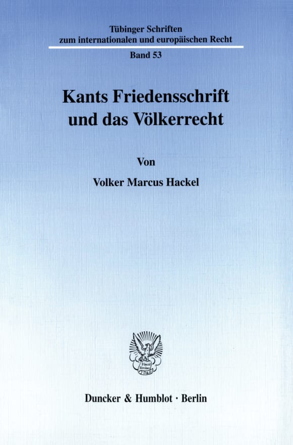 Cover Kants Friedensschrift und das Völkerrecht