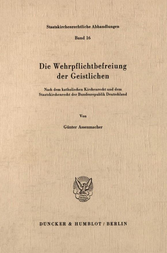 Cover Die Wehrpflichtbefreiung der Geistlichen