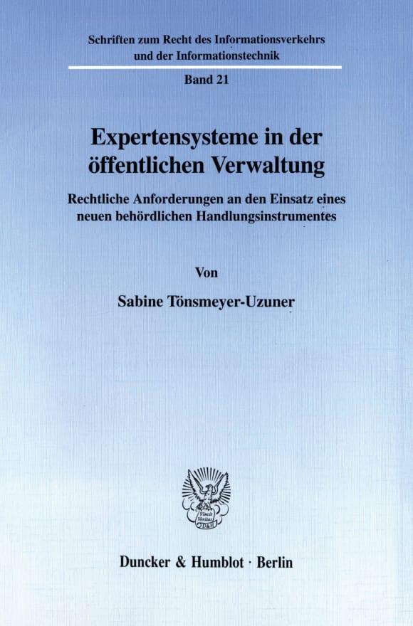 Cover Expertensysteme in der öffentlichen Verwaltung