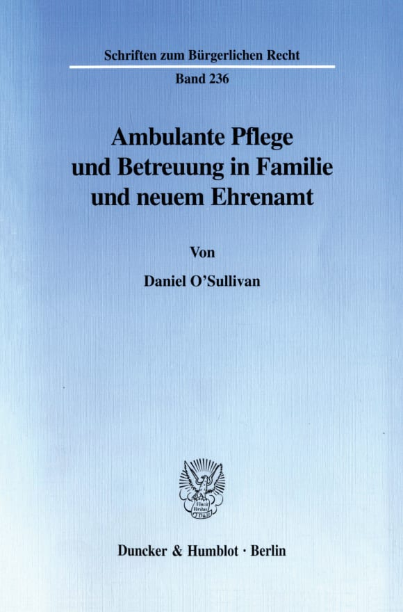 Cover Ambulante Pflege und Betreuung in Familie und neuem Ehrenamt