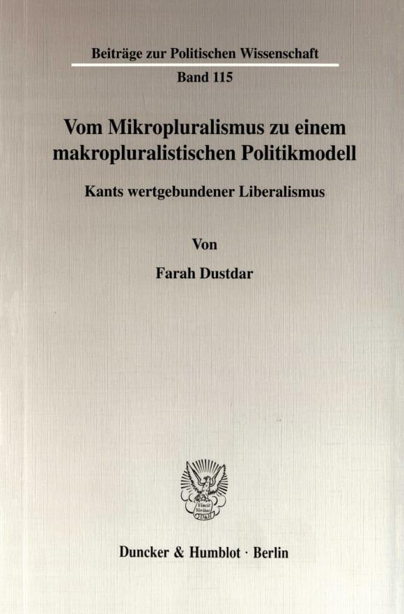 Cover Vom Mikropluralismus zu einem makropluralistischen Politikmodell