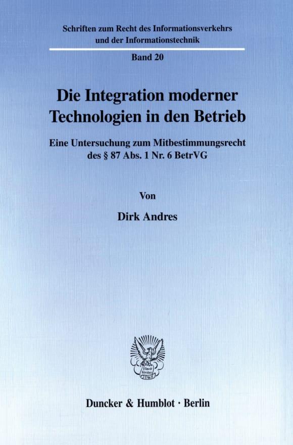 Cover Die Integration moderner Technologien in den Betrieb