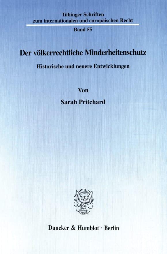 Cover Der völkerrechtliche Minderheitenschutz