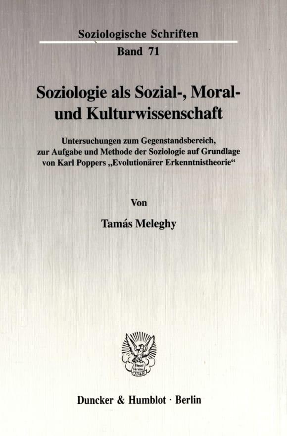 Cover Soziologie als Sozial-, Moral- und Kulturwissenschaft