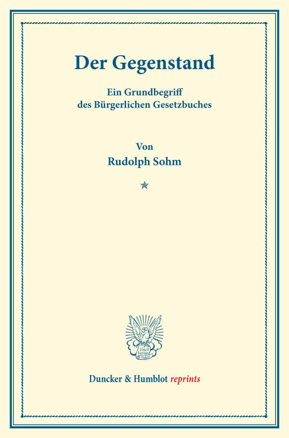 Cover Der Gegenstand