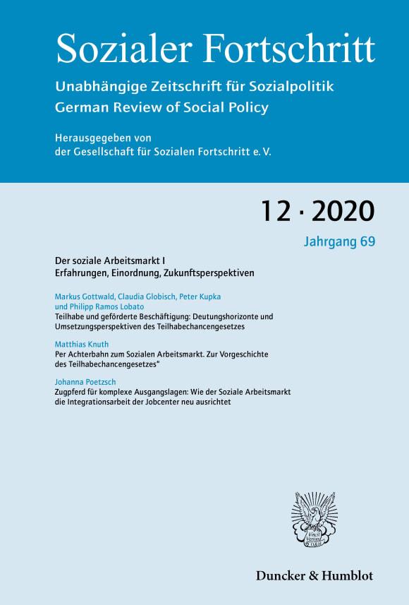 Cover Der soziale Arbeitsmarkt I (SF 12/2020)