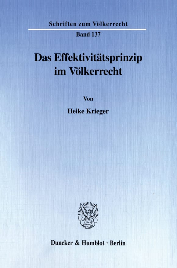 Cover Das Effektivitätsprinzip im Völkerrecht