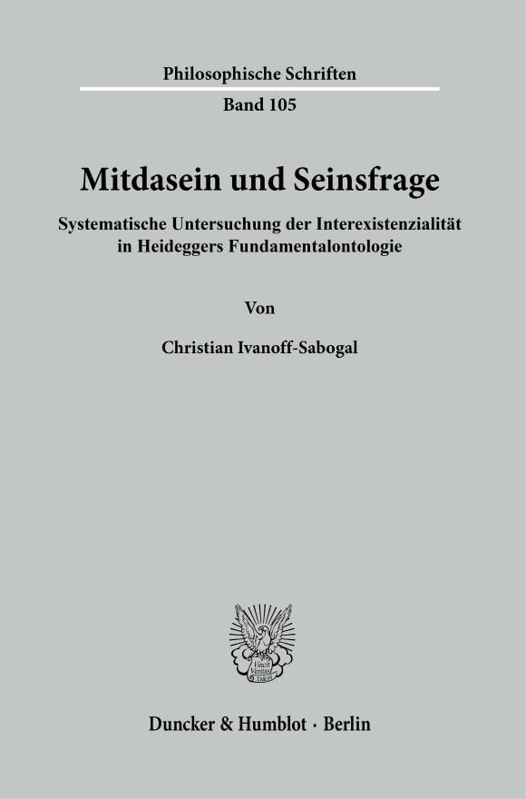 Cover Mitdasein und Seinsfrage