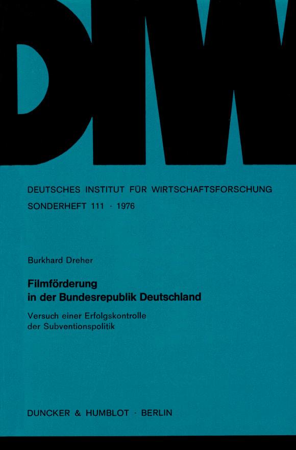 Cover Filmförderung in der Bundesrepublik Deutschland