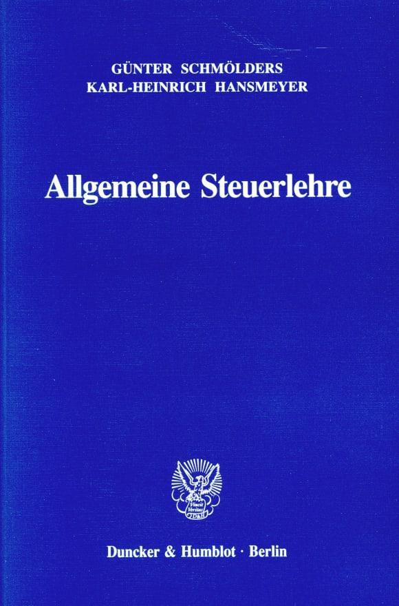 Cover Allgemeine Steuerlehre
