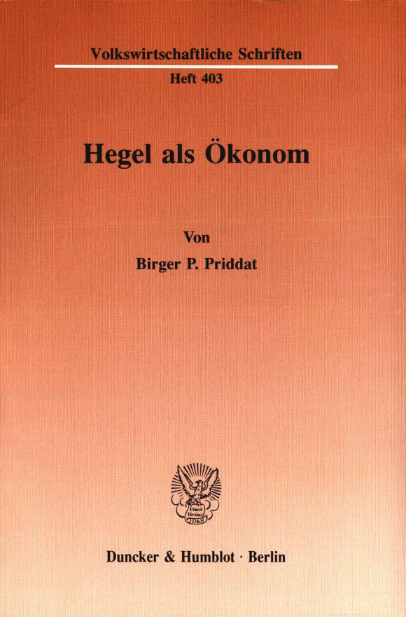 Cover Hegel als Ökonom