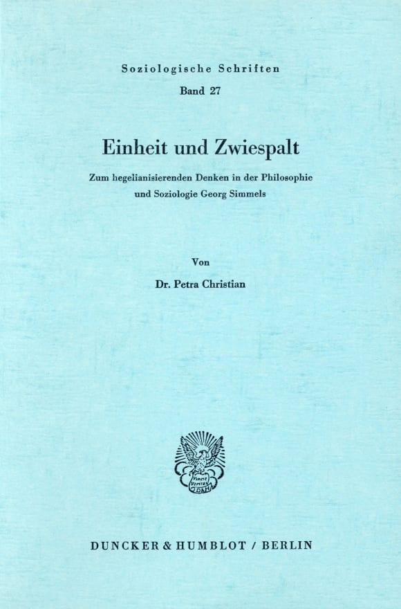 Cover Einheit und Zwiespalt