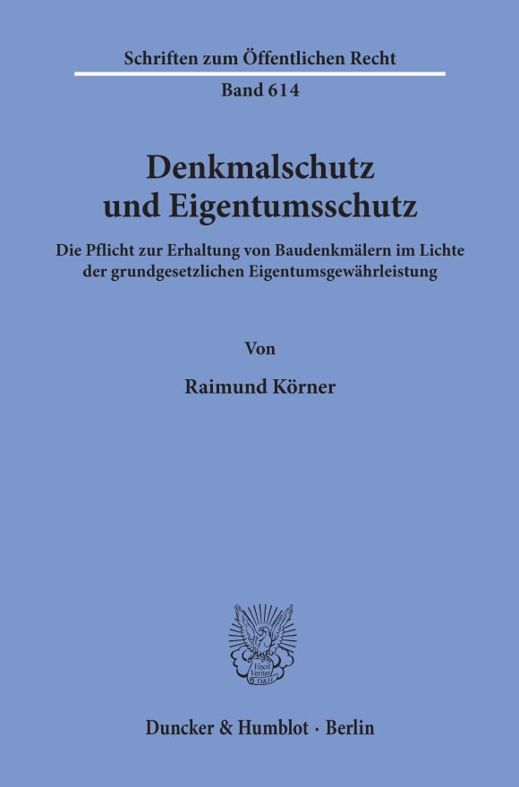 Cover Denkmalschutz und Eigentumsschutz