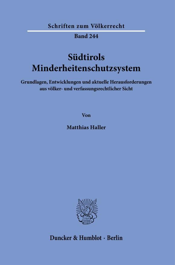 Cover Südtirols Minderheitenschutzsystem