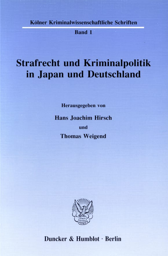 Cover Strafrecht und Kriminalpolitik in Japan und Deutschland