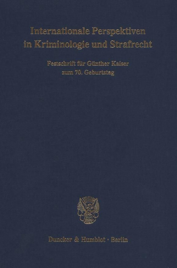Cover Internationale Perspektiven in Kriminologie und Strafrecht