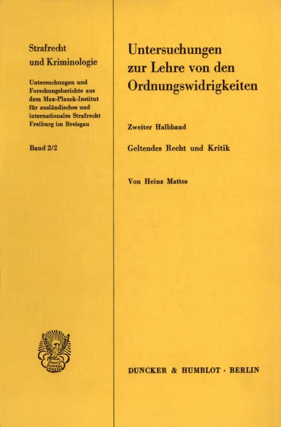 Cover Untersuchungen zur Lehre von den Ordnungswidrigkeiten