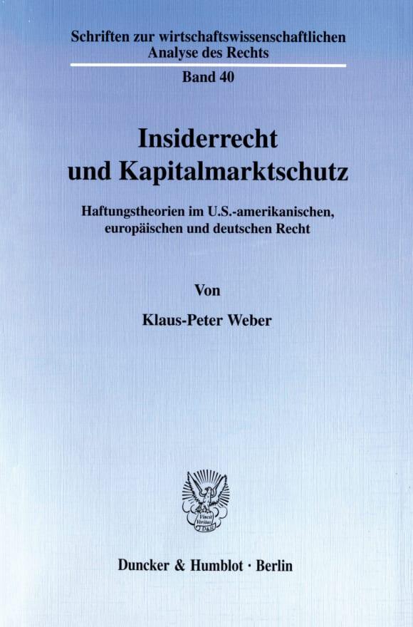 Cover Insiderrecht und Kapitalmarktschutz