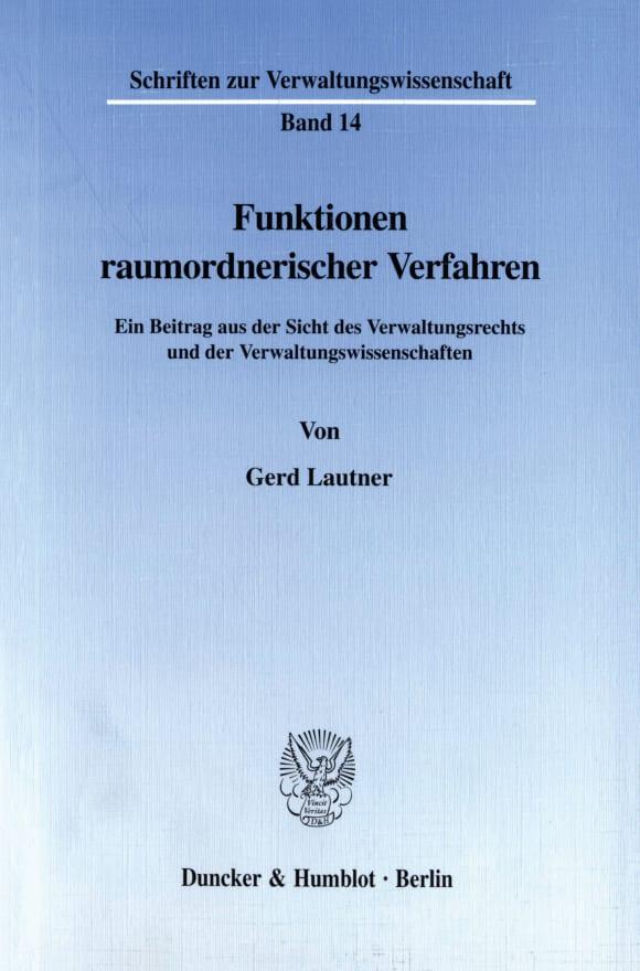 Cover Funktionen raumordnerischer Verfahren